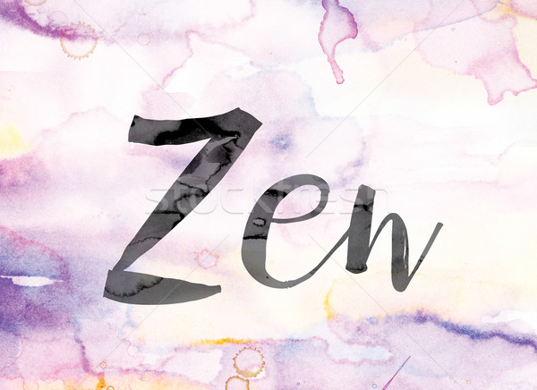 Zen Colorful Watercolor and Ink Word Art Stock photo © enterlinedesign
