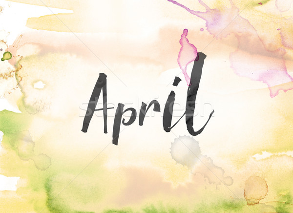 April Concept Watercolor and Ink Painting Stock photo © enterlinedesign