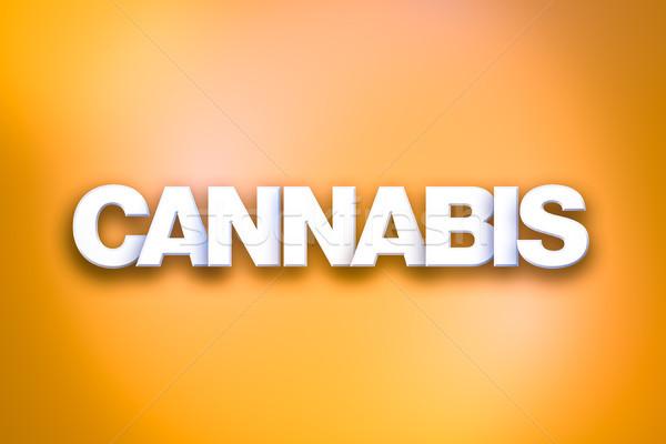 Cannabis szó művészet színes írott fehér Stock fotó © enterlinedesign