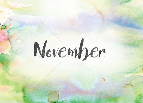 November Concept Watercolor and Ink Painting Stock photo © enterlinedesign