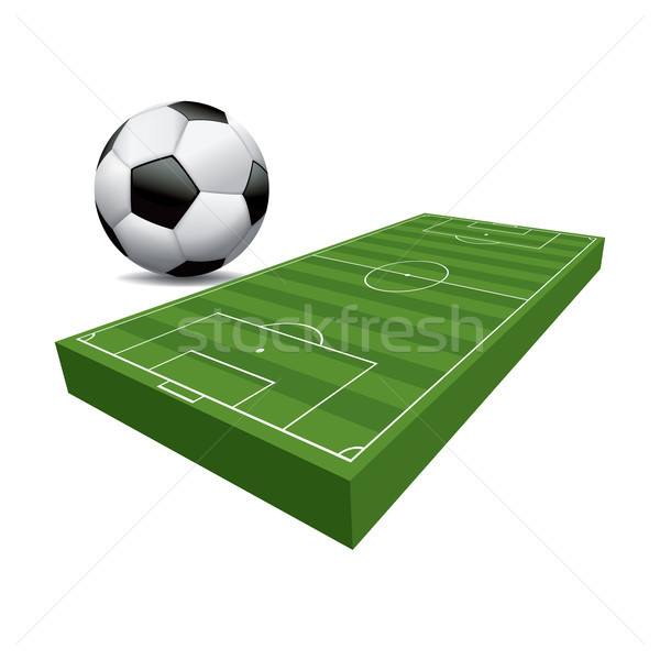 3D football terrain de football balle illustration 3d illustration Photo stock © enterlinedesign