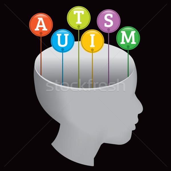Autyzm sylwetka osoby litery na zewnątrz głowie Zdjęcia stock © enterlinedesign