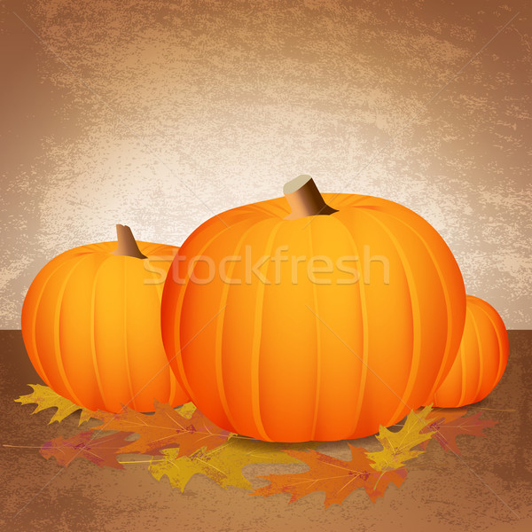 Stock photo: Fall Pumpkins and Leaves