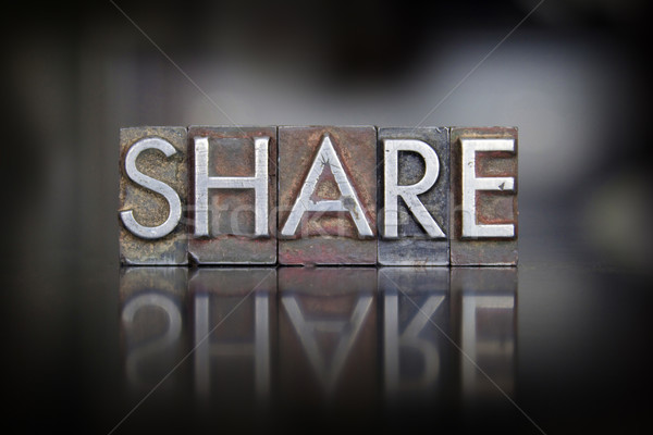 Share Letterpress Stock photo © enterlinedesign