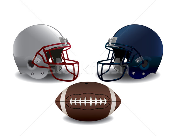 American Football Helmets and Ball Isolated Illustration Stock photo © enterlinedesign