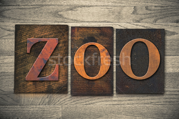 Zoo Wooden Letterpress Theme Stock photo © enterlinedesign