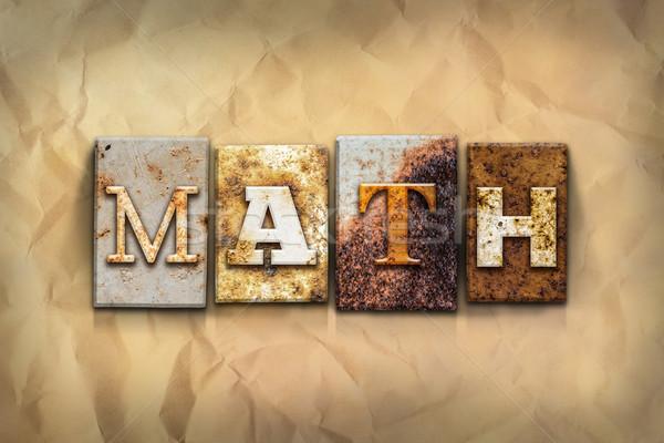 Math metaal type woord geschreven Stockfoto © enterlinedesign