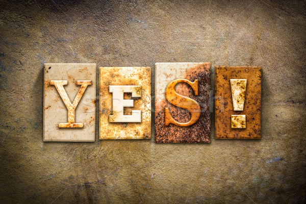 Yes Concept Letterpress Leather Theme Stock photo © enterlinedesign