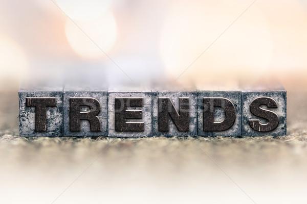 Tendencias vintage tipo palabra escrito Foto stock © enterlinedesign