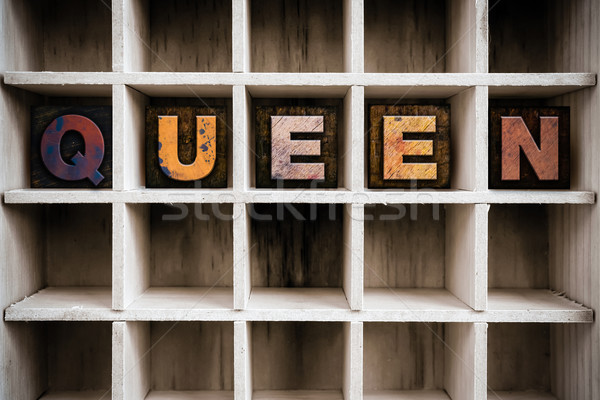 Királynő fából készült magasnyomás fiók szó Stock fotó © enterlinedesign