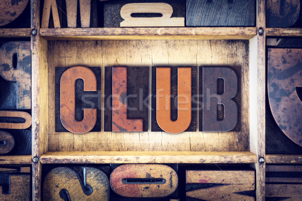 Club Concept Letterpress Type Stock photo © enterlinedesign