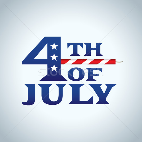 Negyedike ikon illusztráció ünnep amerikai zászló színek Stock fotó © enterlinedesign