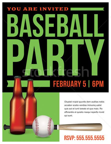 Baseball Party Flyer Template Illustration Stock photo © enterlinedesign