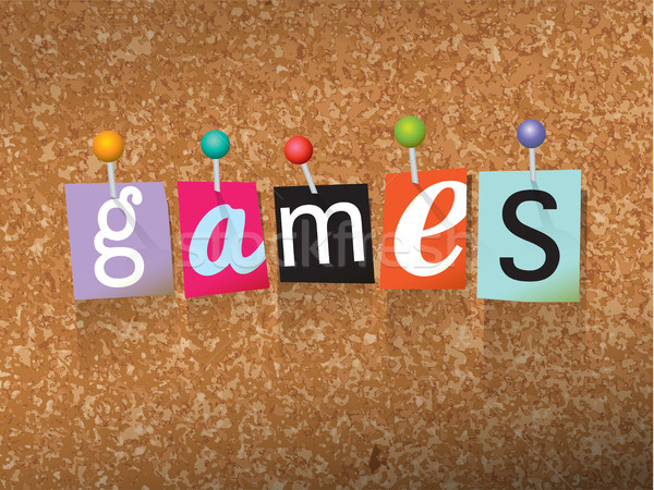Games Pinned Paper Concept Illustration Stock photo © enterlinedesign