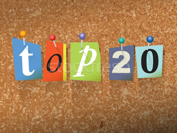 Top 20 бумаги иллюстрация слов написанный Сток-фото © enterlinedesign