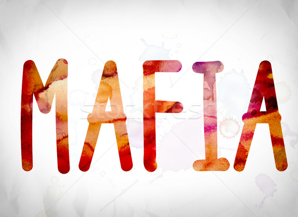 Mafia acuarela palabra arte escrito blanco Foto stock © enterlinedesign