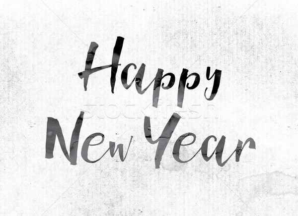 Happy New Year Concept Painted in Ink Stock photo © enterlinedesign