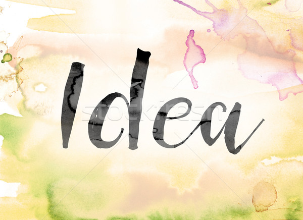 Idea Colorful Watercolor and Ink Word Art Stock photo © enterlinedesign
