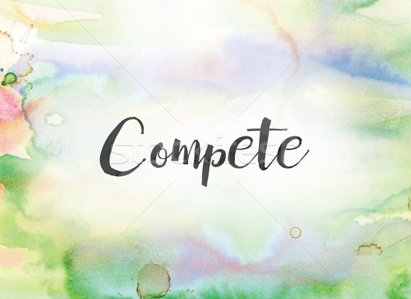 Compete Concept Watercolor and Ink Painting Stock photo © enterlinedesign