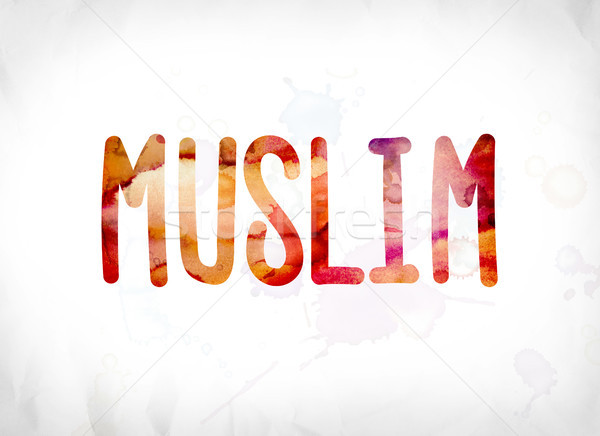Muslim Concept Painted Watercolor Word Art Stock photo © enterlinedesign