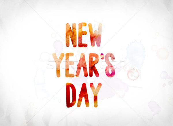 New Year's Day Concept Painted Watercolor Word Art Stock photo © enterlinedesign
