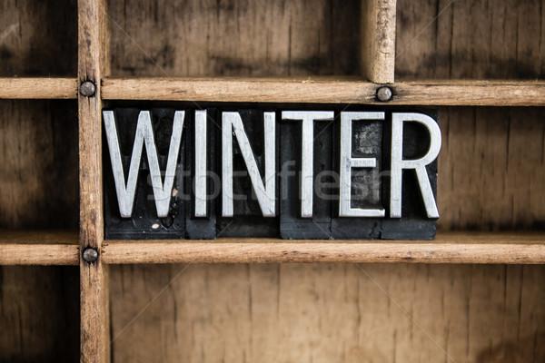 Inverno metal palavra gaveta escrito Foto stock © enterlinedesign