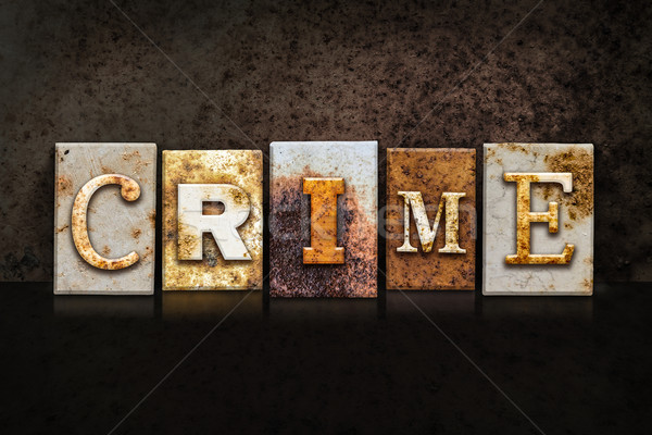 Crime Letterpress Concept on Dark Background Stock photo © enterlinedesign