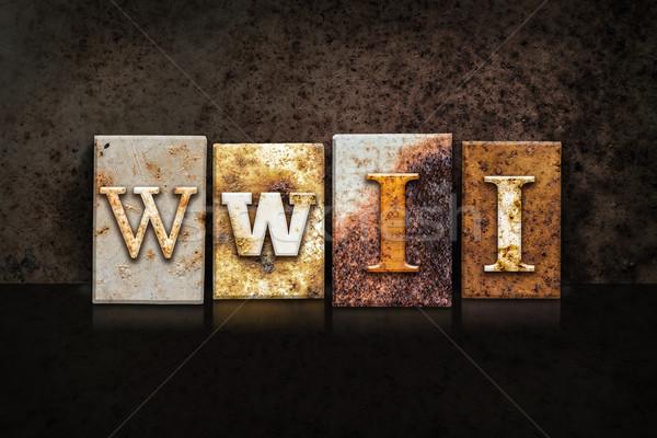 WWII Letterpress Concept on Dark Background Stock photo © enterlinedesign