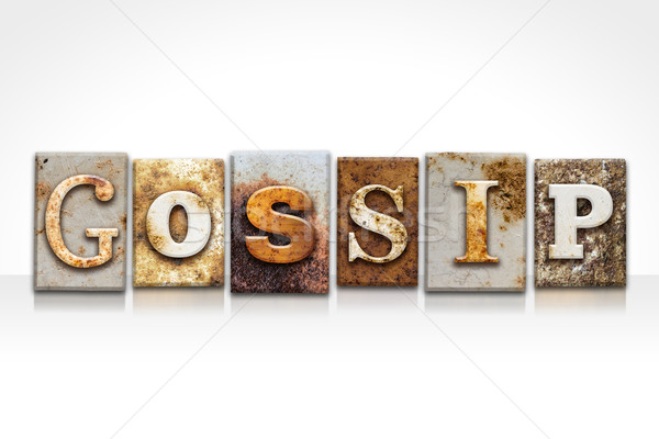 Gossip Letterpress Concept Isolated on White Stock photo © enterlinedesign