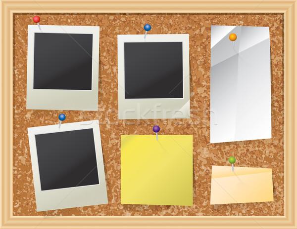 Parafa tábla papír fotók valósághű dugó közlöny Stock fotó © enterlinedesign