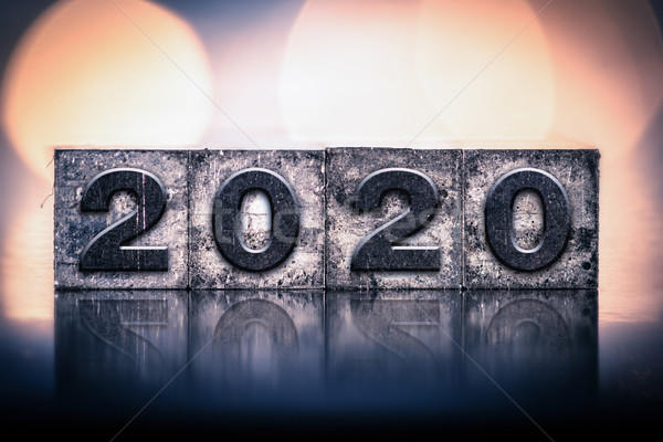 2020 Concept Vintage Letterpress Type Stock photo © enterlinedesign