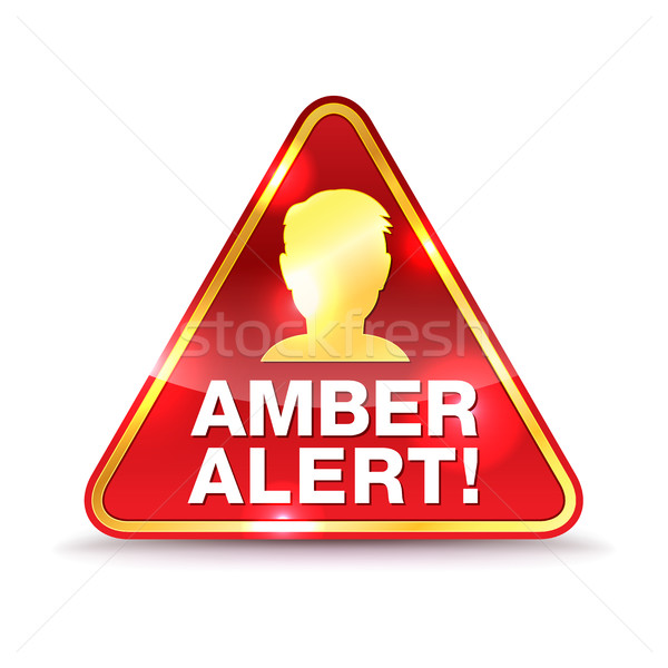 Amber alarm waarschuwing icon illustratie bericht Stockfoto © enterlinedesign
