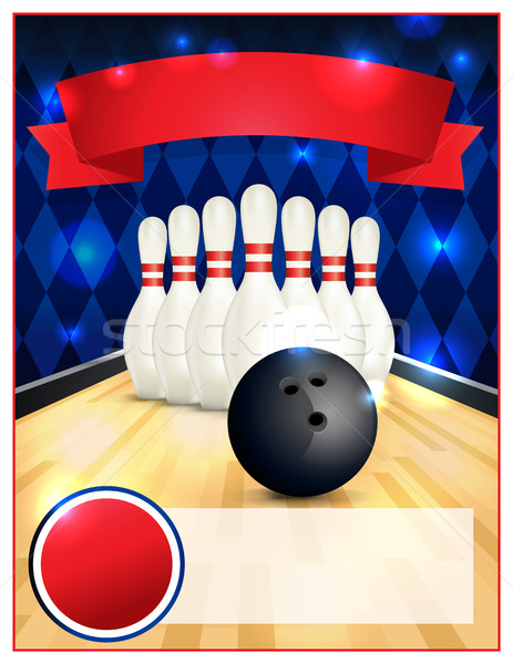 Blank Bowling Flyer Template Illustration Stock photo © enterlinedesign