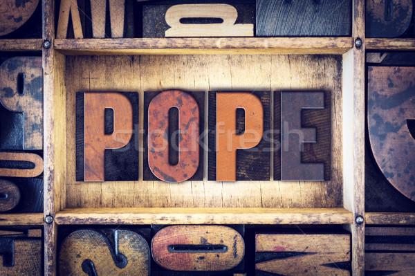 Pápa magasnyomás szó írott klasszikus Stock fotó © enterlinedesign