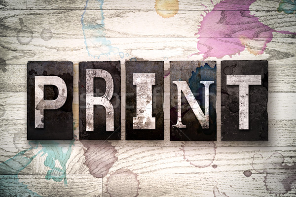 Print Concept Metal Letterpress Type Stock photo © enterlinedesign