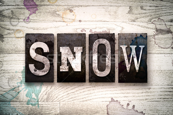 Snow Concept Metal Letterpress Type Stock photo © enterlinedesign