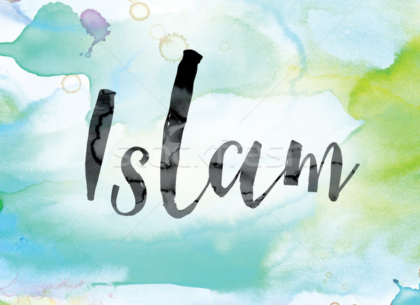 Islam Colorful Watercolor and Ink Word Art Stock photo © enterlinedesign