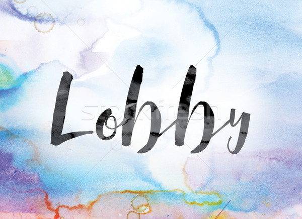 Lobby Colorful Watercolor and Ink Word Art Stock photo © enterlinedesign