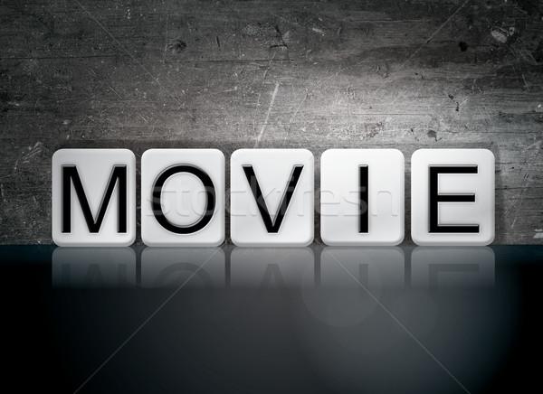 Foto stock: Filme · azulejos · cartas · palavra · escrito · branco