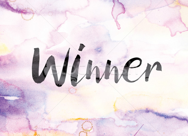Winner Colorful Watercolor and Ink Word Art Stock photo © enterlinedesign