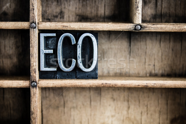 Eco Concept Metal Letterpress Word in Drawer Stock photo © enterlinedesign