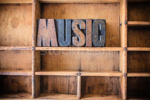 Music Concept Wooden Letterpress Theme Stock photo © enterlinedesign