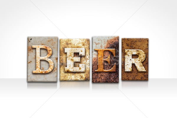 Beer Letterpress Concept Isolated on White Stock photo © enterlinedesign