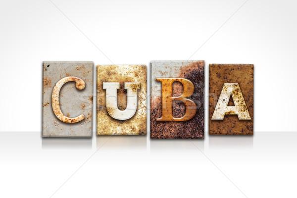 Cuba isolé blanche mot écrit Photo stock © enterlinedesign