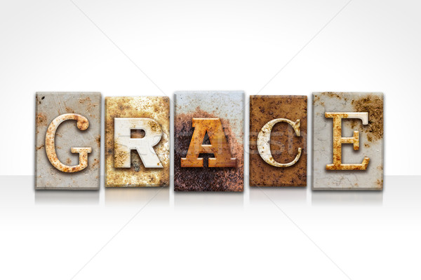 Grace Letterpress Concept Isolated on White Stock photo © enterlinedesign