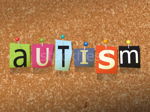 Autismus Papier Illustration Wort geschrieben geschnitten Stock foto © enterlinedesign