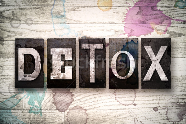 Detox Concept Metal Letterpress Type Stock photo © enterlinedesign
