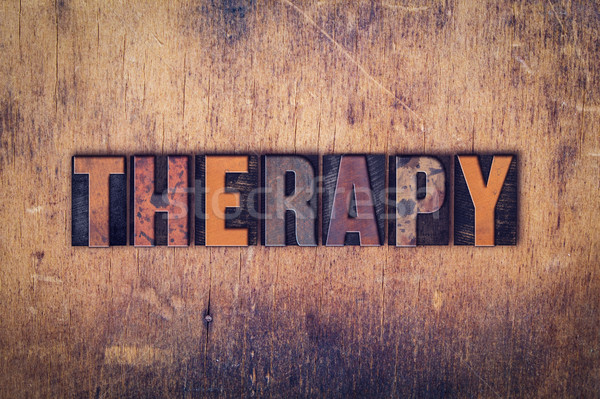 Stock photo: Therapy Concept Wooden Letterpress Type