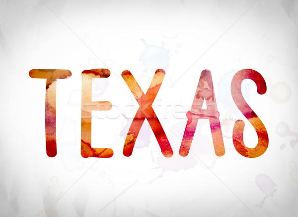 Texas couleur pour aquarelle mot art écrit blanche Photo stock © enterlinedesign