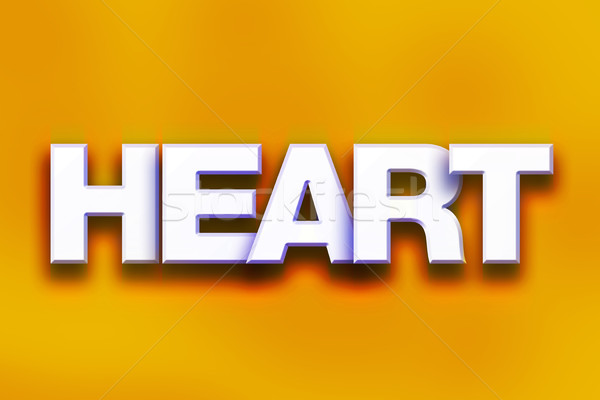 Kalp renkli kelime sanat yazılı beyaz Stok fotoğraf © enterlinedesign